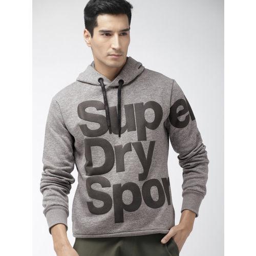 Superdry Sport Men Grey Melange Printed Hooded COMBAT Sweatshirt