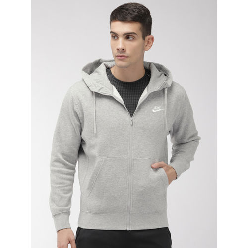 Nike Men Grey Melange Solid Hooded NSW CLUB HOODIE Sweatshirt