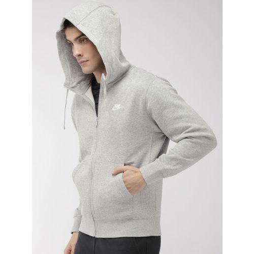 Nike Men Grey Melange Solid Hooded NSW CLUB HOODIE Sweatshirt