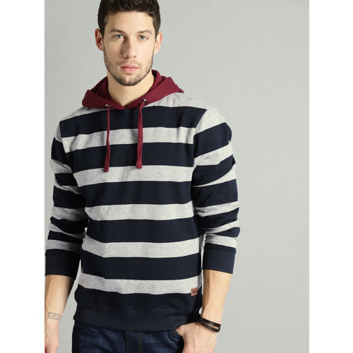 Roadster Men Grey Melange & Navy Blue Striped Hooded Sweatshirt
