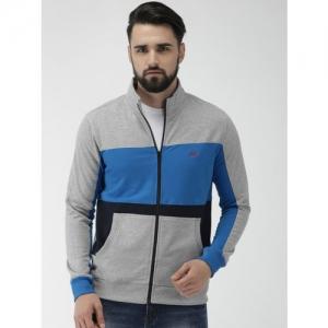 Park Avenue Men Grey Melange & Blue Slim Fit Colourblocked Sweatshirt