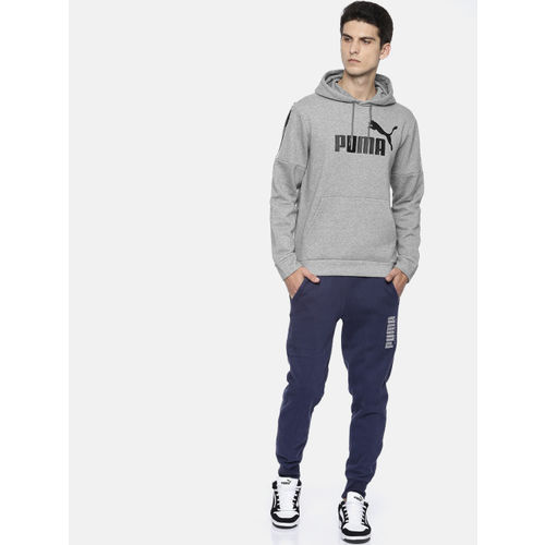 Puma Men Grey Melange & Black Printed Hooded Amplified Hoody FL Sweatshirt