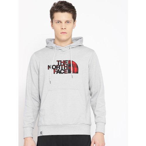 The North Face Men Grey Melange OTG Half Dome AP Solid Hooded Sweatshirt