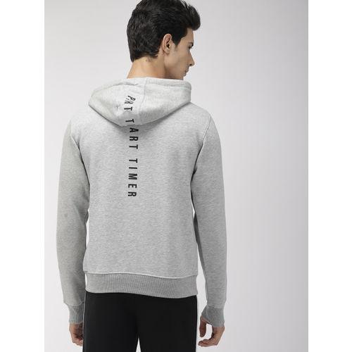 Harvard Men Grey Melange Solid Hooded Sweatshirt