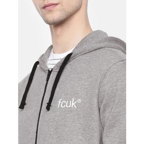 French Connection Men Grey Melange Solid Hooded Sweatshirt