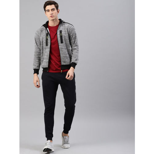 HRX by Hrithik Roshan Active Men Grey Melange Solid Hooded Front-Open Sweatshirt