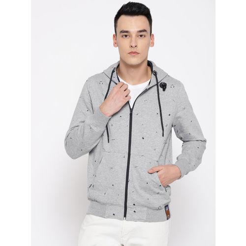 Monte Carlo Men Grey Melange Printed Hooded Sweatshirt with MP3 Player