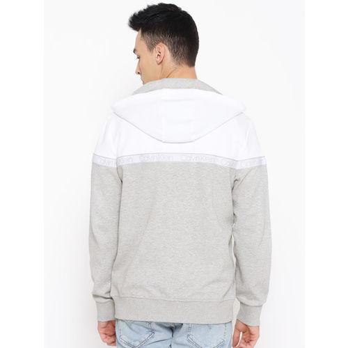 Calvin Klein Jeans Men Grey Melange & White Colourblocked Hooded Sweatshirt