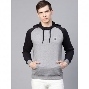 HRX by Hrithik Roshan Men Grey Melange & Black Lifestyle Hooded Solid Sweatshirt