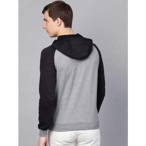 HRX by Hrithik Roshan Men Grey Melange & Black Lifestyle Hooded Solid Sweatshirt