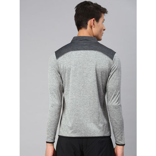 Peter England Men Grey Melange Solid Sweatshirt