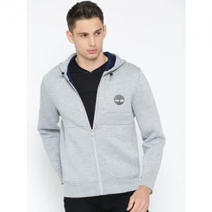Timberland Men Grey Melange Printed AF CSL ZIP Thru Hoodie Medium Sweatshirt