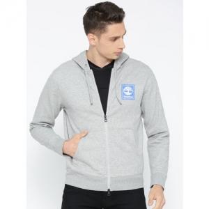 Timberland Men Grey Melange Printed YCC FZ Hoody stack logo Medium Sweatshirt