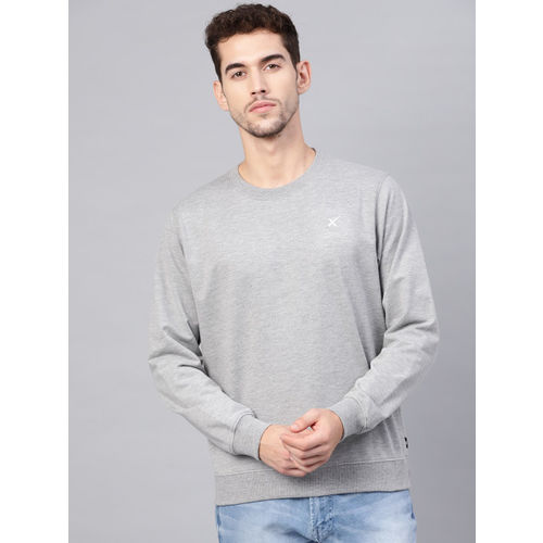 HRX by Hrithik Roshan Men Grey Melange Lifestyle Solid Round Neck Sweatshirt