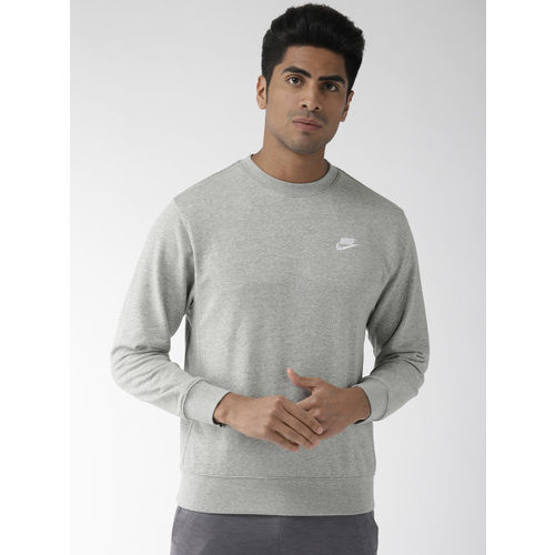 Nike Men Grey Melange Solid Standard Fit AS NSW CLUB CRW FT Sweatshirt