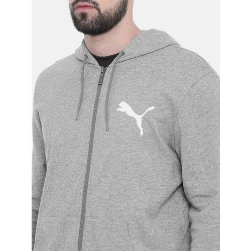 Puma Men Grey Melange Summer FZ Solid Hooded Sweatshirt