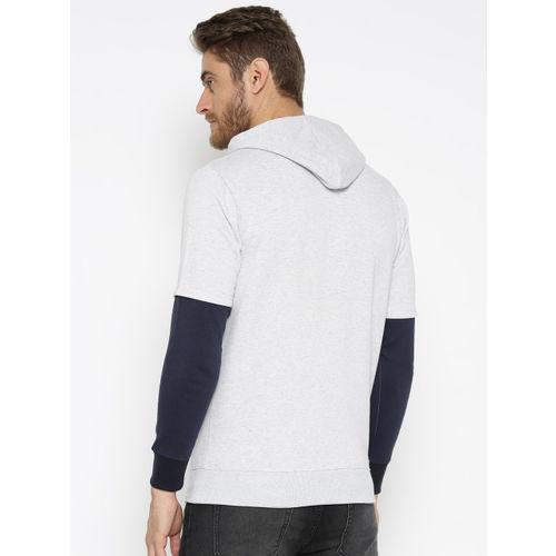 HARBORNBAY Men Grey Melange & Navy Solid Hooded Sweatshirt