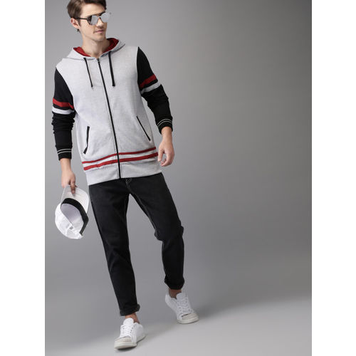 HERE&NOW Men Grey Melange & Black Solid Hooded Sweatshirt