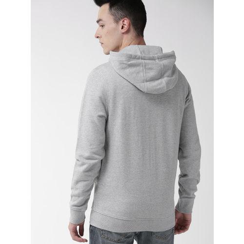 Tommy Hilfiger Men Grey Melange Printed Hooded Sweatshirt