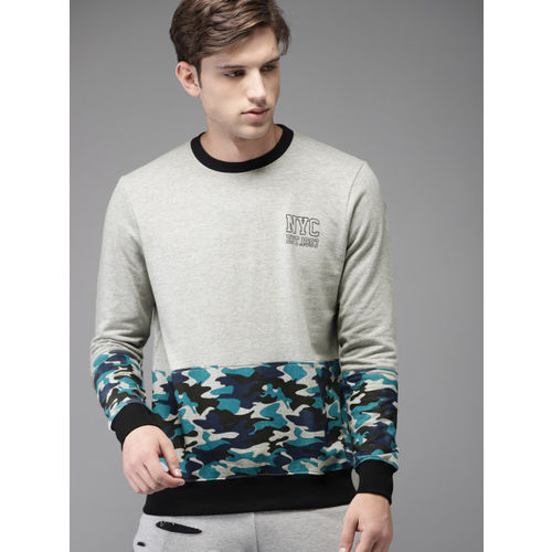 Moda Rapido Men Grey Melange & Blue Printed Sweatshirt