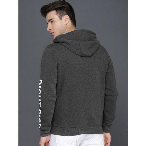 WROGN Men Grey Melange Printed Hooded Sweatshirt