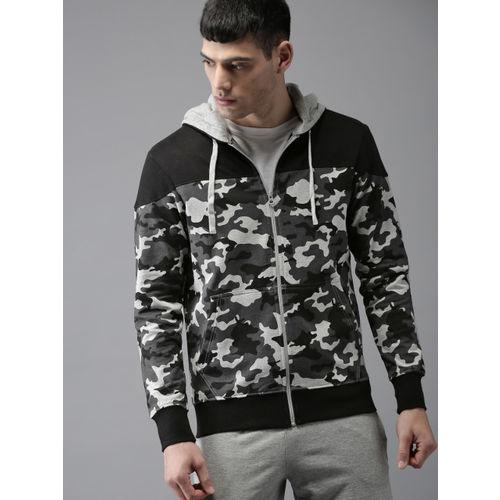Moda Rapido Men Grey Melange & Black Printed Hooded Sweatshirt