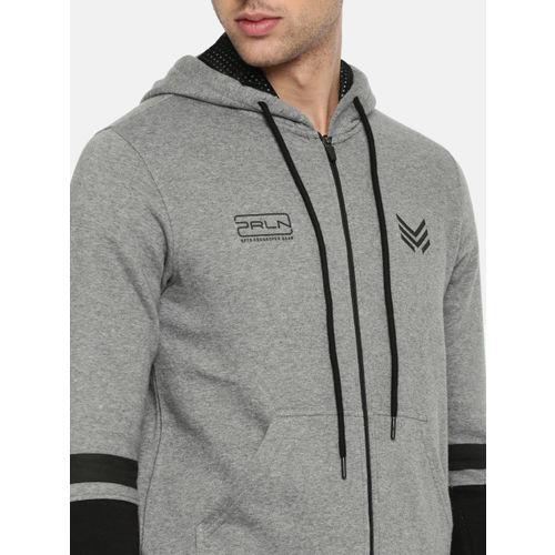 Proline Active Men Grey Melange Solid Hooded Sweatshirt