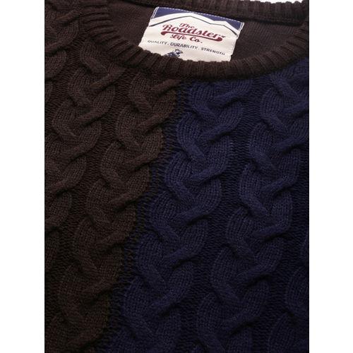 Roadster Men Brown & Blue Self Design Sweater