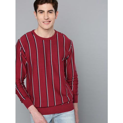 Mast & Harbour Men Maroon & Black Striped Sweater