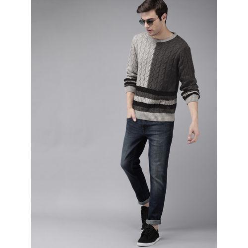 Roadster Men Grey & Black Self Design Sweater