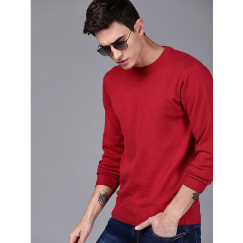 WROGN Men Red Solid Pullover Sweater