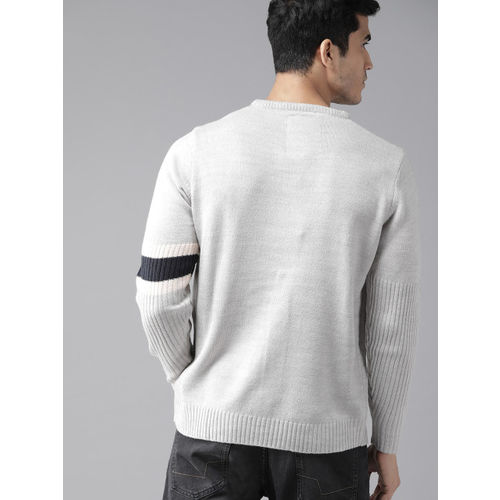 Roadster Men Grey Solid Sweater