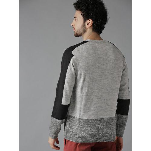 Roadster Men Grey Melange Colourblocked Sweater