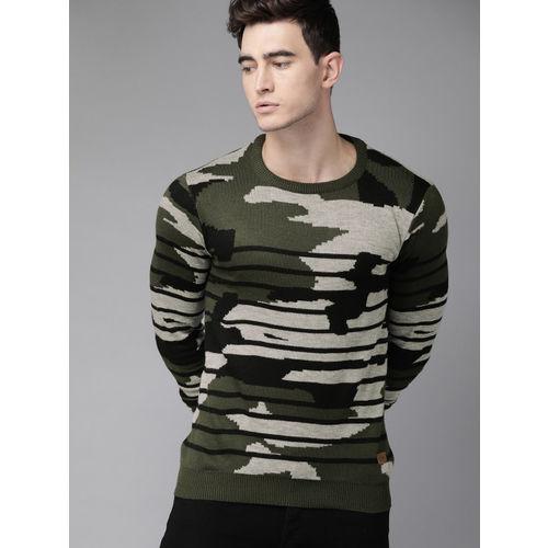 Roadster Men Olive Green & Black Striped Sweater