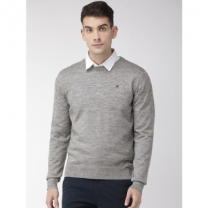 Raymond Men Grey Solid Sweater