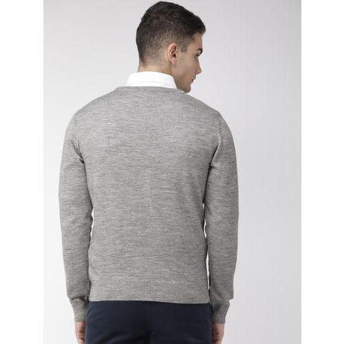 Raymond Men Grey Solid Sweater