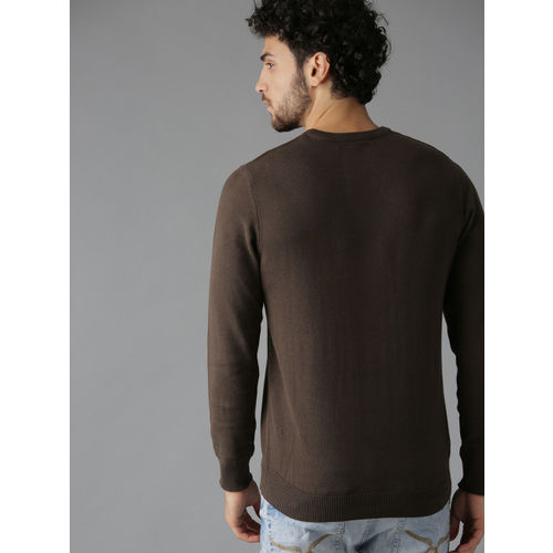 Roadster Men Coffee Brown Solid Sweater