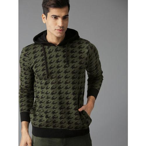 Roadster Men Olive Green & Black Self Design Sweater