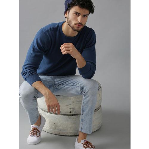 Roadster Men Navy Blue Solid Sweater