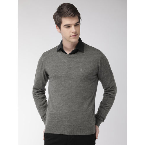 Raymond Men Charcoal Grey Solid Sweater