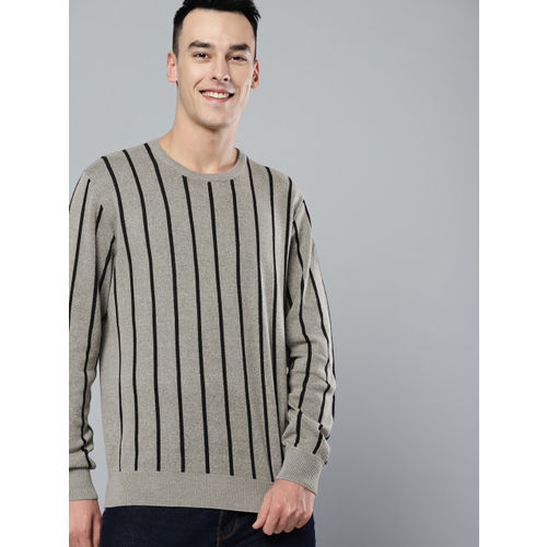 Mast & Harbour Men Taupe & Black Striped Sweater