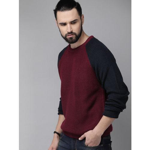 Roadster Men Maroon Solid Sweater