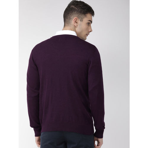 Raymond Men Purple Solid Sweater