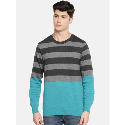 Parx Men Grey & Turquoise Blue Striped Sweater