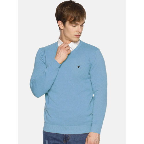 BLACK BUCK Men Turquoise Blue Solid Sweater