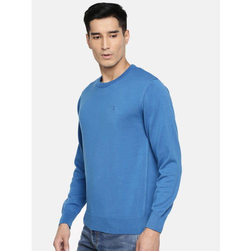Parx Men Blue Solid Sweater
