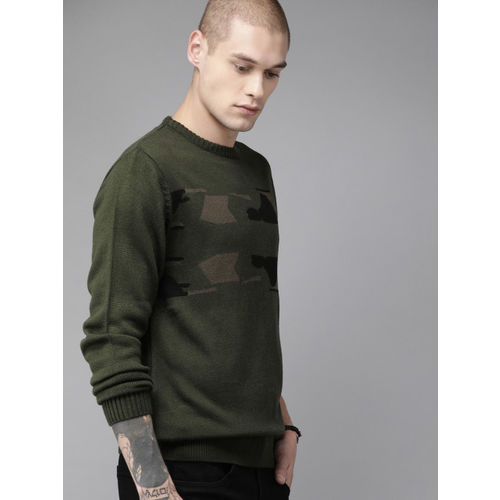 Roadster Men Olive Green Camouflage Woven Design Sweater