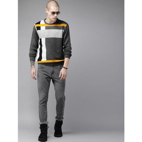 Roadster Men Grey & White Colourblocked Sweater
