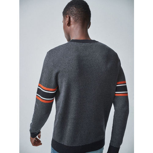 next Men Charcoal Grey Solid Sweater