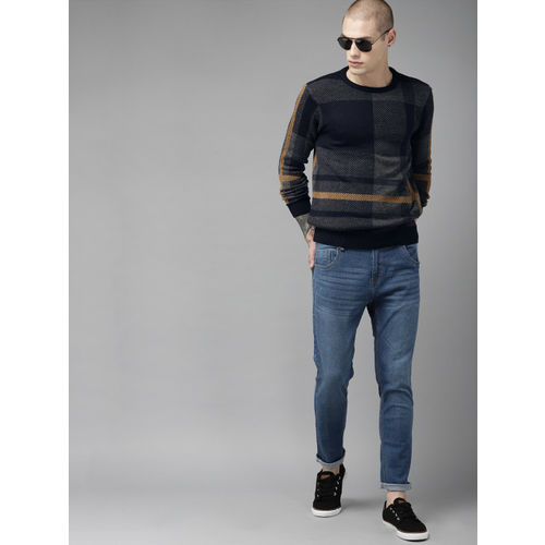 Roadster Men Navy Blue & Grey Self Design Sweater
